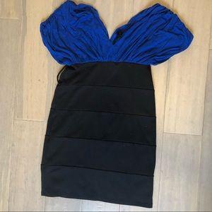 Sexy blue and black mini skirt dress